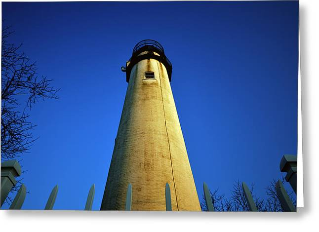 Greeting Card featuring the photograph Fenwick Island Lightouse And Blue Sky by Bill Swartwout