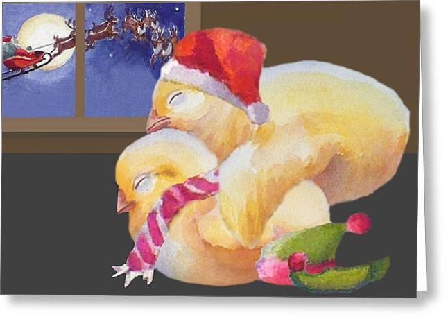 Baby Chicks Night Before Christmas Greeting Card
