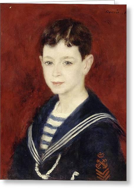 Fernand Halphen As A Boy Greeting Card by Pierre-Auguste Renoir