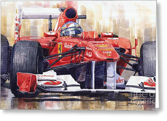 2011 Ferrari 150 Italia Fernando Alonso F1   Greeting Card by Yuriy  Shevchuk