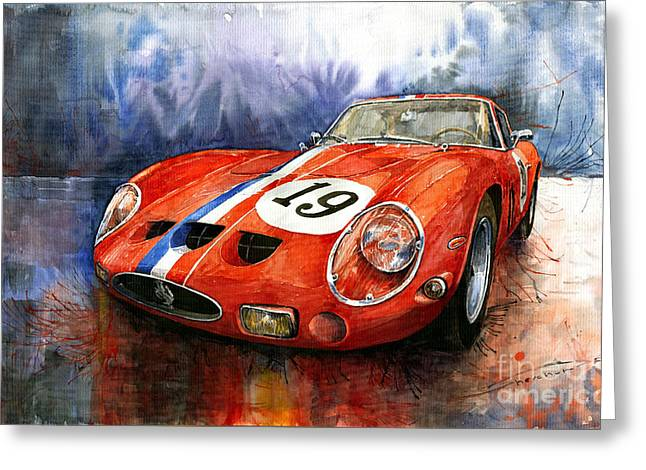 Vintage Auto Greeting Cards - Ferrari 250 GTO 1963 Greeting Card by Yuriy  Shevchuk