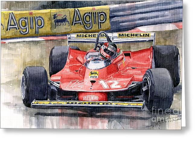 Ferrari  312t4 Gilles Villeneuve Monaco Gp 1979 Greeting Card by Yuriy Shevchuk