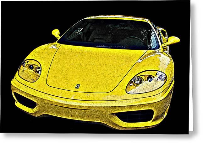 Ferrari 360 Modena In Yellow Greeting Card