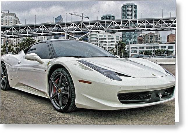 Ferrari 458 Italia In White Greeting Card by Samuel Sheats