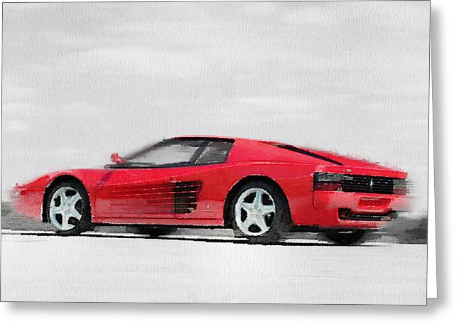 Ferrari 512 Tr Testarossa Watercolor Greeting Card
