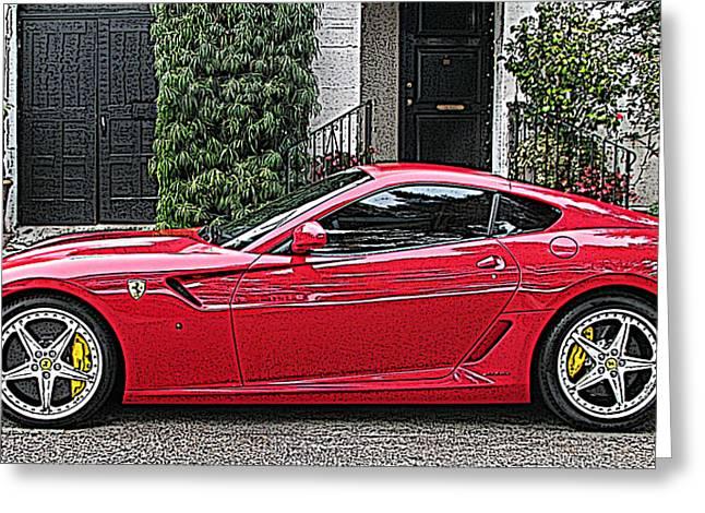 Ferrari 599 Gtb Fiorano Side View Greeting Card