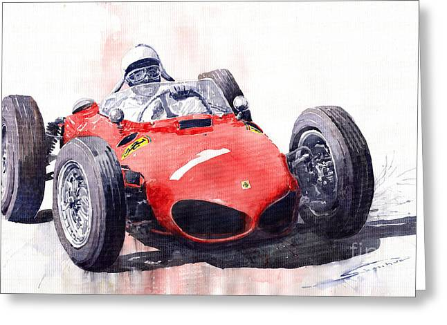 Ferrari Dino 156 F1 1961  Greeting Card by Yuriy  Shevchuk