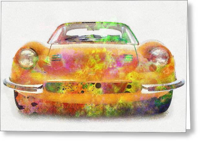 Ferrari Dino 246 Colorful Abstract On White Greeting Card by Eti Reid