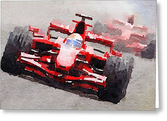 Ferrari F1 Race Watercolor Greeting Card by Naxart Studio
