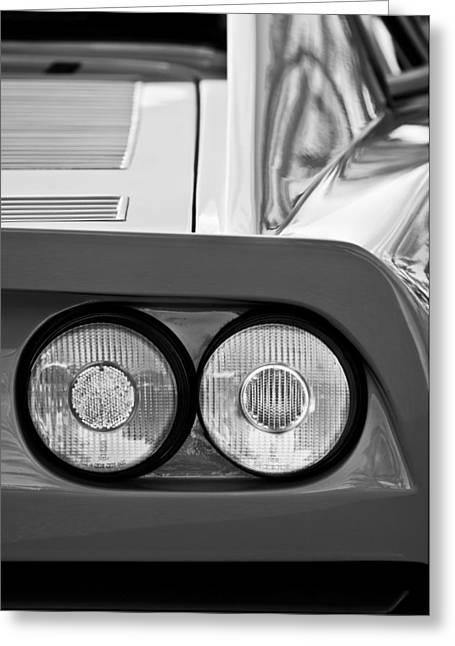 Ferrari Gto 288 Taillight -0635bw Greeting Card by Jill Reger
