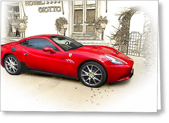 Ferrari Greeting Card by John Hix