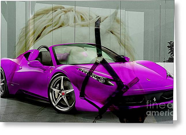 Ferrari Raw Horse Power Greeting Card by Marvin Blaine