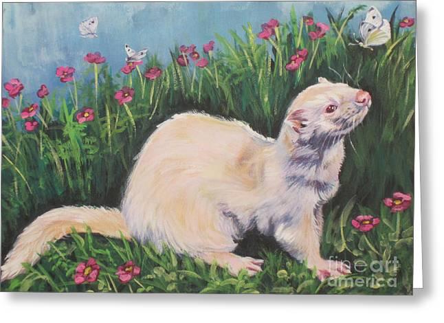 Ferret Greeting Card by Lee Ann Shepard
