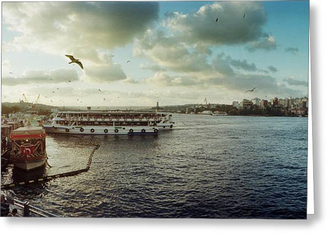 Ferries Along The Bosphorus, Istanbul Greeting Card by Panoramic Images