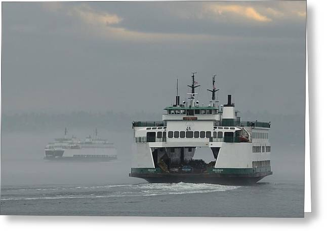 Ferries Pass In The Fog Greeting Card
