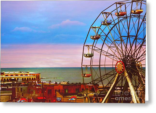 Ocean City New Jersey Ferris Wheel And Music Pier Greeting Card