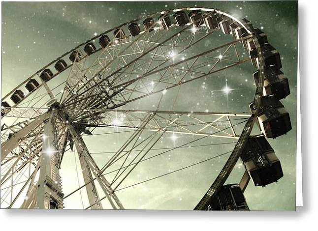 Ferris Wheel At Night In Paris Greeting Card