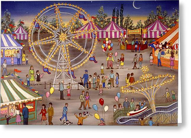 Ferris Wheel At The Carnival Greeting Card by Linda Mears
