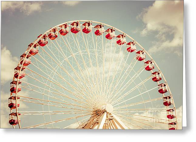 Ferris Wheel Chicago Navy Pier Vintage Photo Greeting Card by Paul Velgos