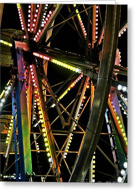 Greeting Card featuring the photograph Lit Ferris Wheel  by Lilliana Mendez