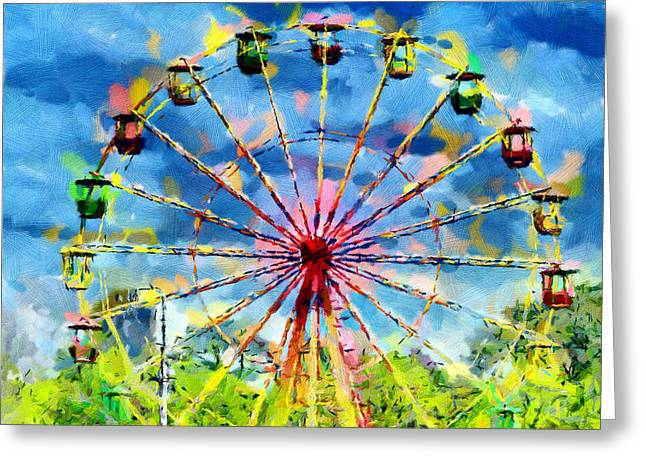 Ferris Wheel Painting Greeting Card by Magomed Magomedagaev