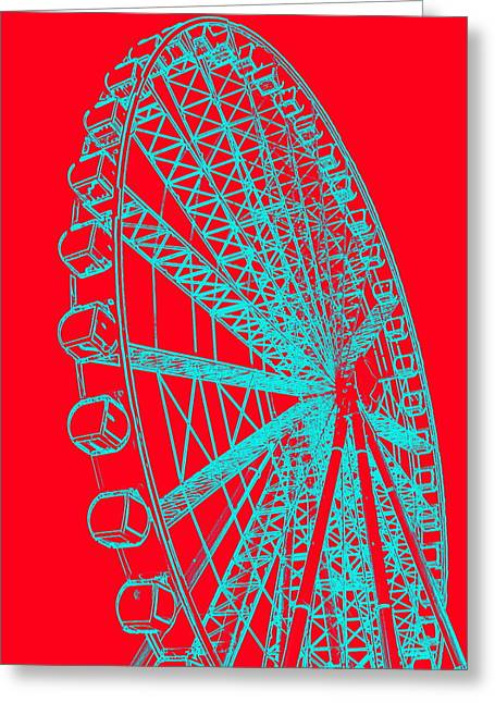 Ferris Wheel Silhouette Turquoise Red Greeting Card