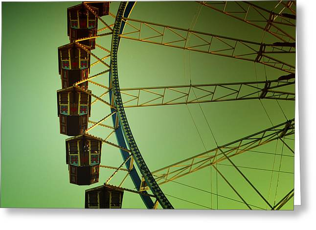 Ferris Wheel Vintage At The Octoberfest In Munich Greeting Card by Sabine Jacobs