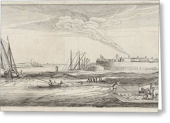 Ferry At A Settlement Near A River, Jan Van De Velde II Greeting Card