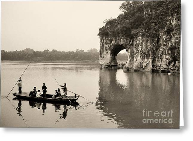 Greeting Card featuring the photograph Ferry At Elephant's Trunk Hill by Nigel Fletcher-Jones