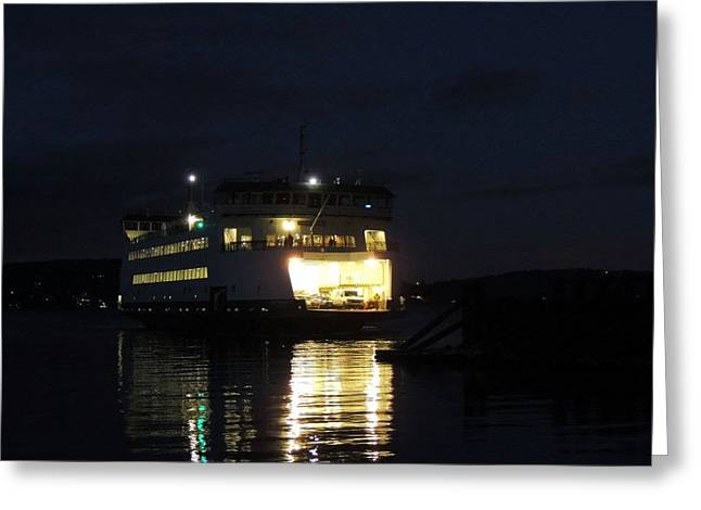 Ferry At Night Greeting Card
