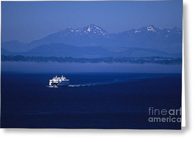 Ferry Boat In Puget Sound With Olympic Mountains Greeting Card
