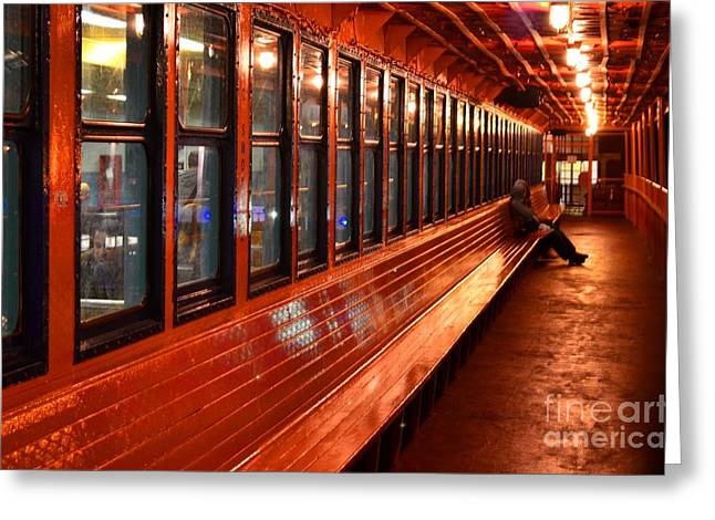 Ferry Boat Riders Greeting Card