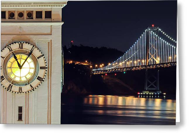 Ferry Building And Bay Bridge Greeting Card
