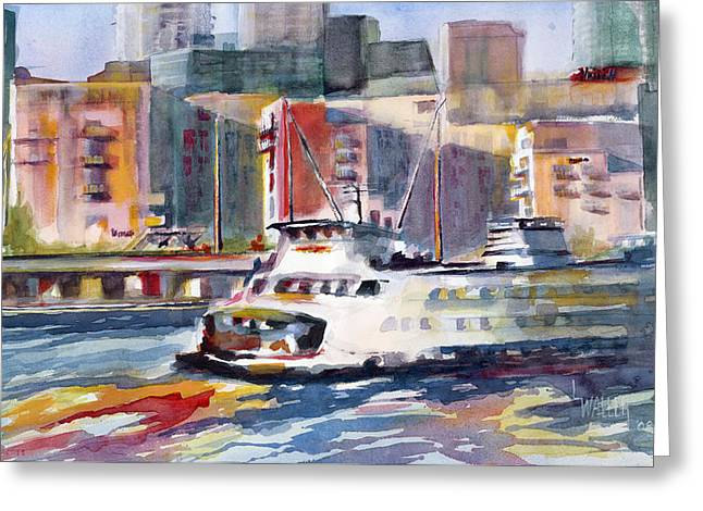 Ferry By Marriot Greeting Card by Lola Waller