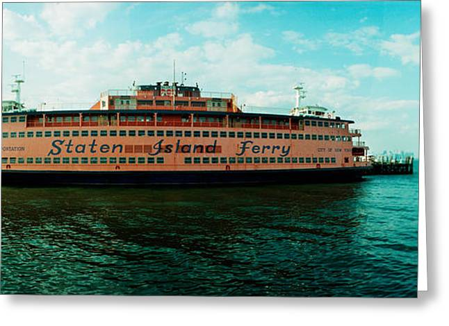 Ferry In A River, Staten Island Ferry Greeting Card by Panoramic Images