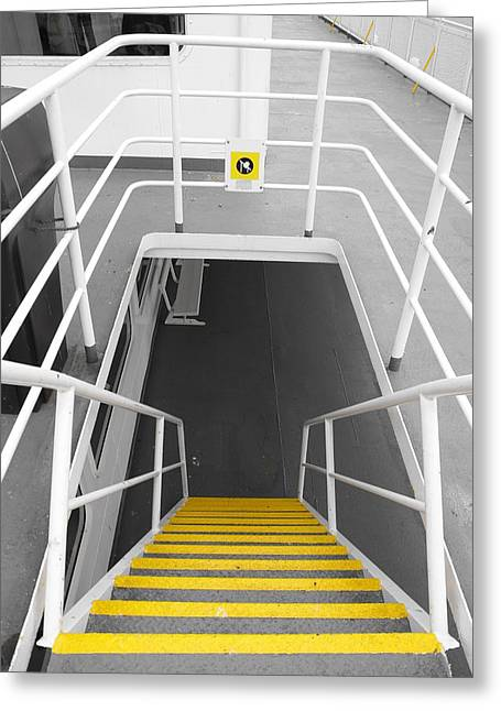 Greeting Card featuring the photograph Ferry Stairwell by Marilyn Wilson