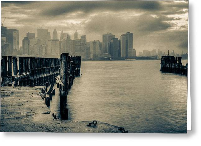 Ferry To New York Greeting Card by David Hahn