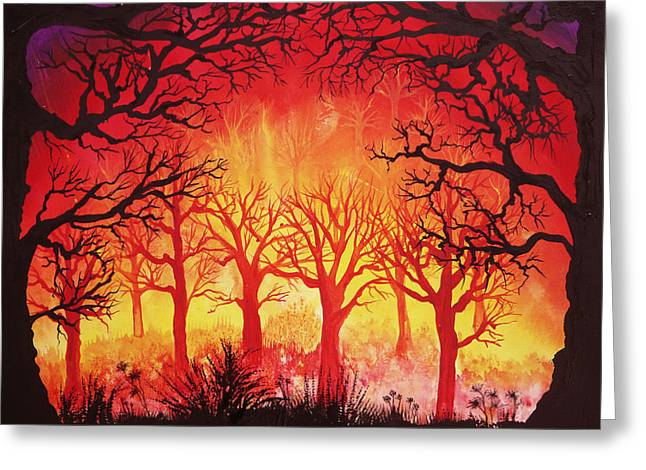 Fervent Forest Greeting Card by Ann Marie Bone