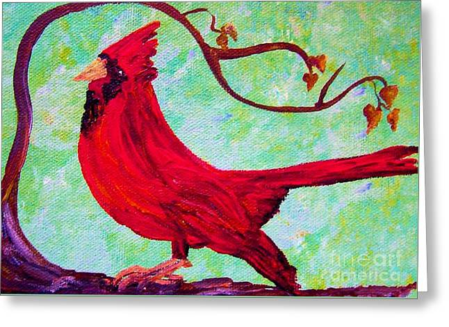 Festive Cardinal Greeting Card by Eloise Schneider