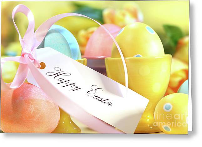 Festive Easter Eggs Greeting Card by Sandra Cunningham