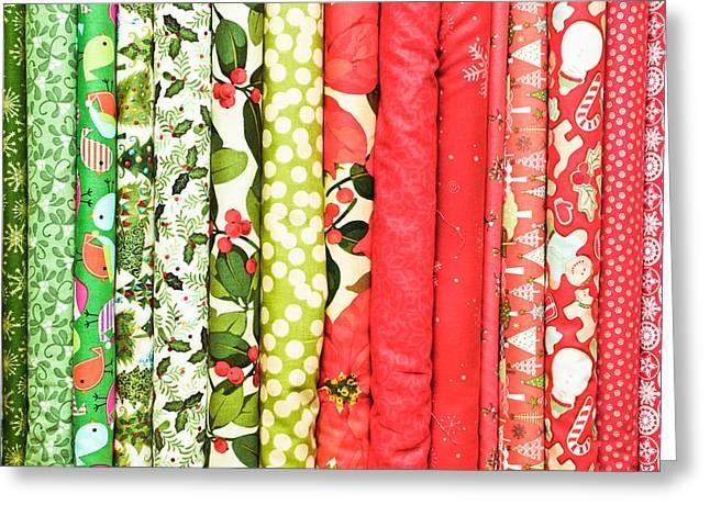 Festive Fabric Greeting Card by Tom Gowanlock