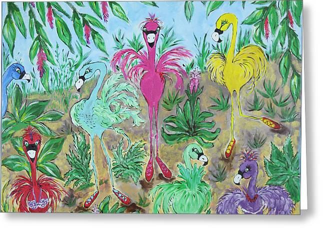 Festive Flamingos Greeting Card