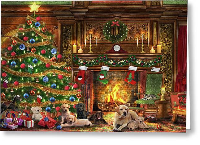 Festive Labradors Greeting Card