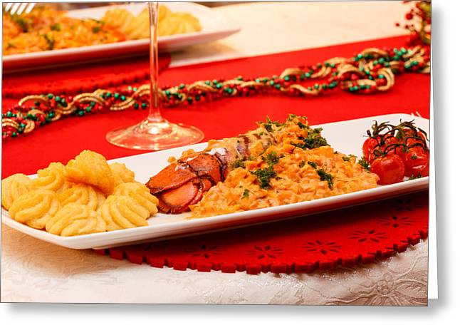 Greeting Card featuring the photograph Festive Lobster Tail by Paul Indigo