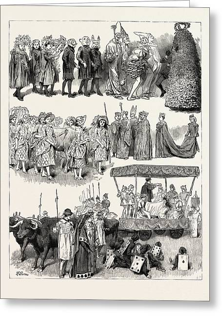 Festivities At St. Mary Cray, Kent, Engraving 1890 Greeting Card