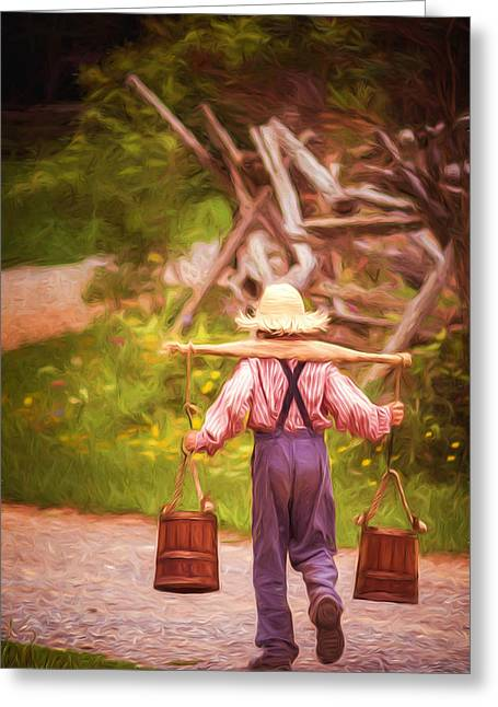 Fetch A Pail Of Water - Artistic Greeting Card by Chris Bordeleau