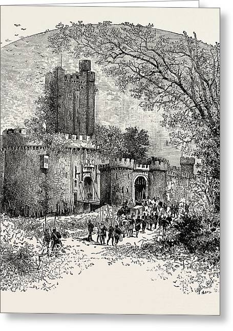 Feudal Castle In The Eleventh Century Greeting Card by English School