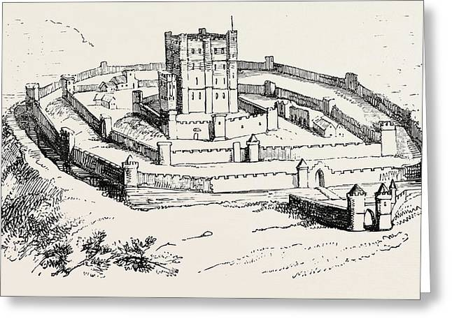 feudal castle of the time of henry ii english school feudal castle of the time of henry ii drawing by english school