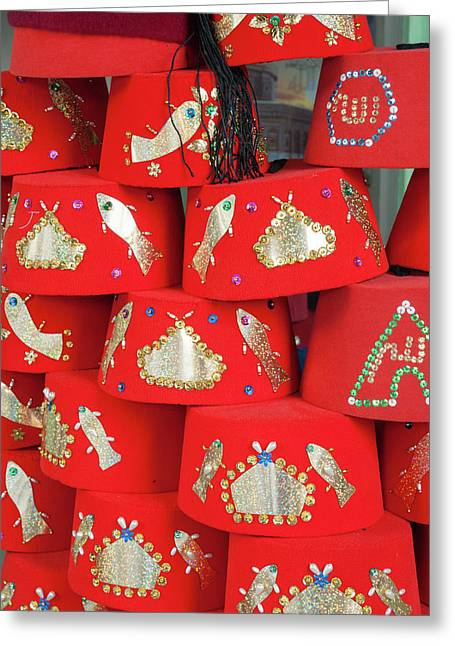 Fez Hat For Sale, Tunisia, North Africa Greeting Card by Nico Tondini