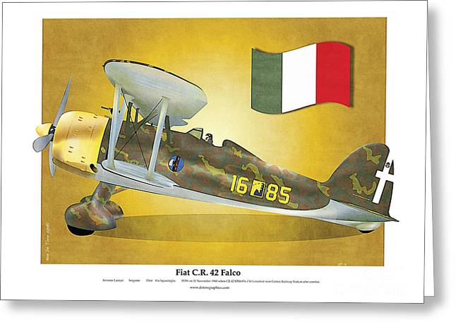 Fiat Falco C.r.42 Greeting Card by Kenneth De Tore